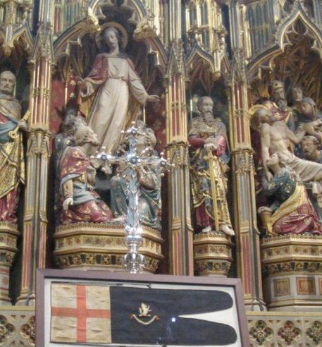 Gloucester Cathedral and sledge flag
