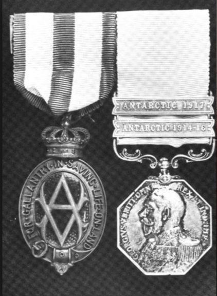 albert medal on the left Polar medal and bar